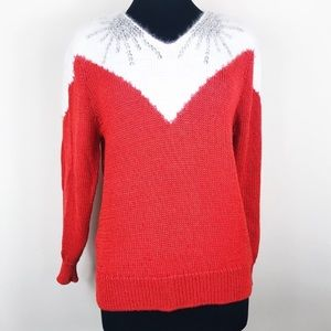 Sweaters - Vintage Angora Wool Blend Red Beaded Sweater